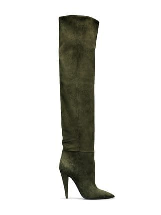Saint Laurent Green Era 110 Suede Ruched Knee Boots - Farfetch