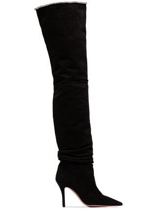 Amina Muaddi Barbara 95 Suede Over-The-Knee Boots - Farfetch