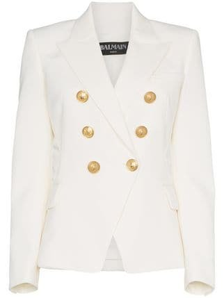 Balmain White Double Breasted Blazer - Farfetch