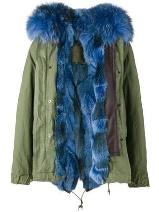 Mr & Mrs Italy Short Green Blue Fur Lined Parka - Farfetch