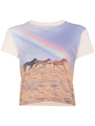 Re/Done Crewneck Tee With Rainbow Print - Farfetch