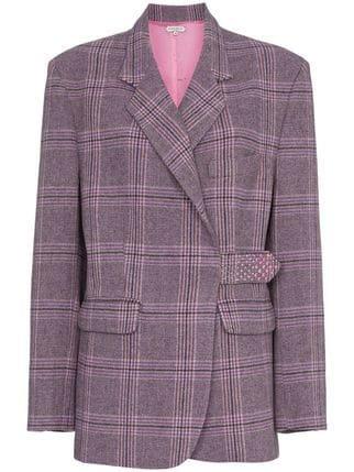 Natasha Zinko Check Crystal Embellished Wool Blend Blazer - Farfetch