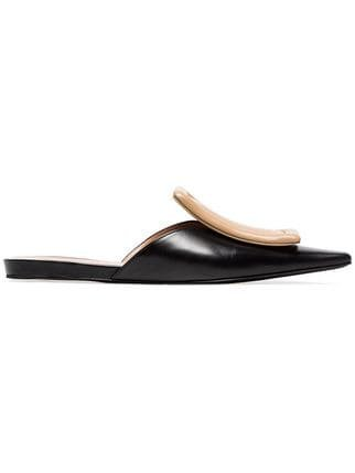 Marni Black And Nude Square Cap Toe Leather Mules - Farfetch