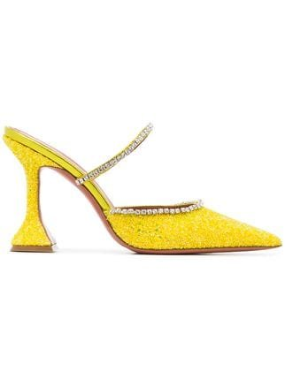 Amina Muaddi Gilda 95 Leather Glitter Crystal Mules  - Farfetch
