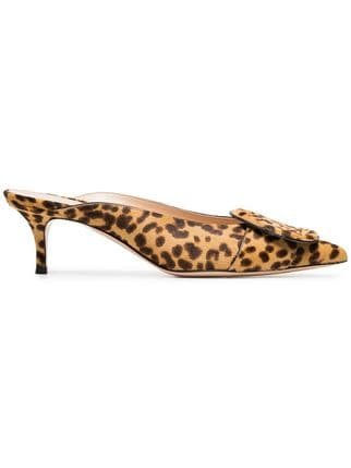 Gianvito Rossi Yellow And Brown Ruby 55 Leopard Haircalf Mules - Farfetch