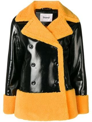 Stand Double Breasted Shearling Jacket  - Farfetch