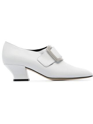 Dorateymur White Han Court 50 Leather Buckle Pumps - Farfetch