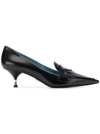 Prada Logo Patch Kitten Heel Pumps - Farfetch