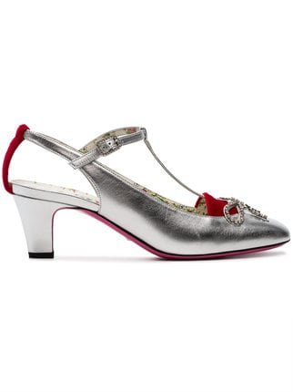 Gucci Silver Anita 55 Velvet And Leather Pumps - Farfetch