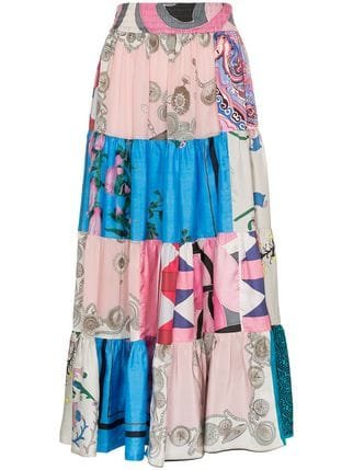 Rianna + Nina Elasticated Patchwork Silk Skirt  - Farfetch