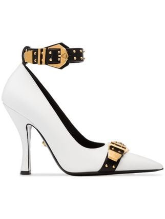 Versace White, Black And Gold Metallic Versace Studded Buckle Strap Leather Pumps - Farfetch