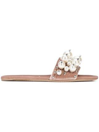 Miu Miu Pearl-embellished Sandals - Farfetch