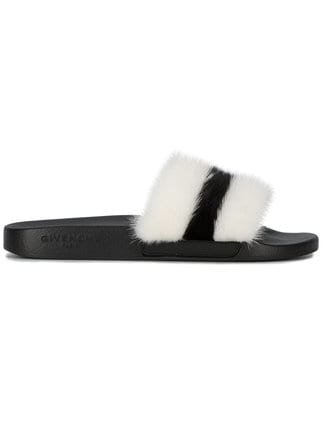 Givenchy Black And White Stripe Fur Slides - Farfetch