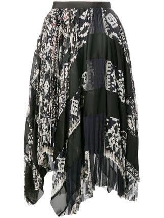 Sacai Pleated Flared Skirt - Farfetch