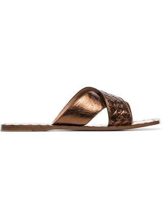 Bottega Veneta Metallic Intrecciato Criss Cross Sandals - Farfetch