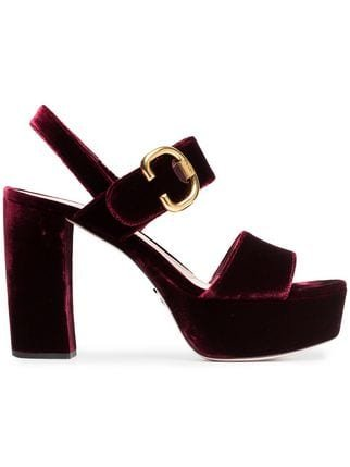 Prada Bordeaux Red 105 Velvet Platform Sandals - Farfetch