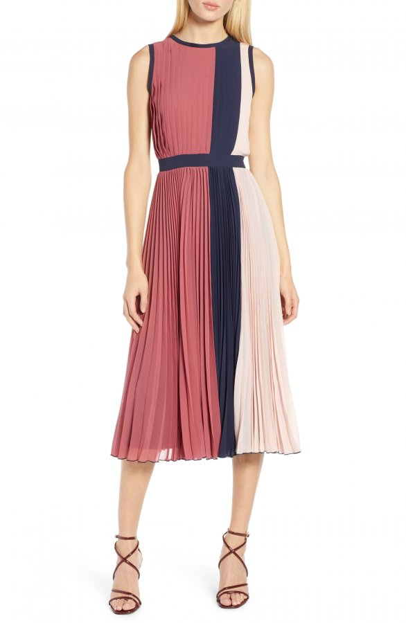 Colorblock Pleated Midi Dress (Regular & Petite)