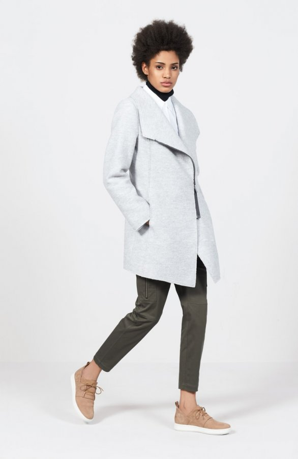 Asymmetrical Zip Boiled Wool Blend Coat (Regular & Petite)
