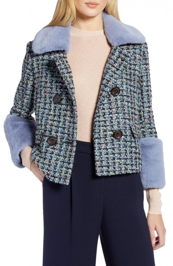 Tweed Jacket with Removable Faux Fur Trim