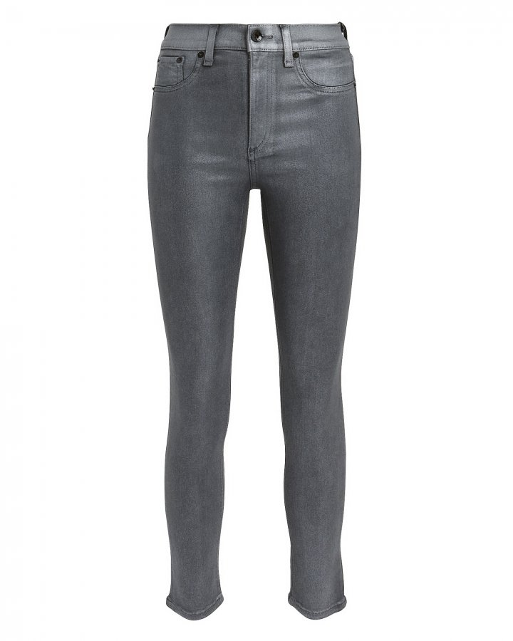 High-Rise Skinny Silver Jeans