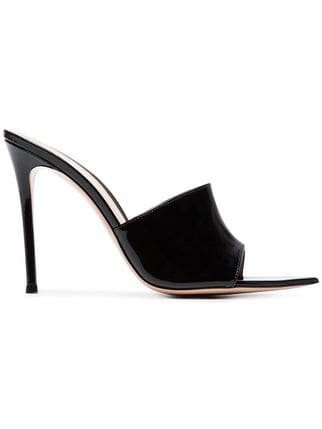 Gianvito Rossi Black 105 Patent Leather Open Toe Mules - Farfetch