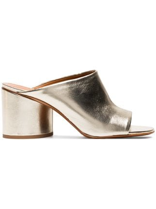 Clergerie Gold Caren 75 Leather Mules  - Farfetch
