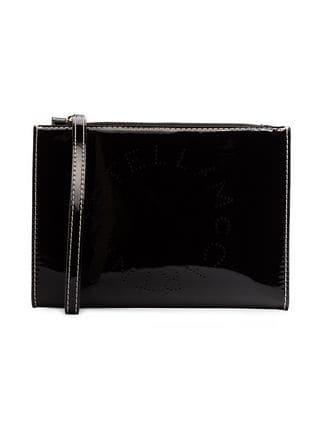 Stella McCartney Black Logo Print Faux Leather Zip Clutch Bag - Farfetch