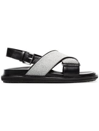 Marni Black And Silver Fussbett Cross-over Lurex Leather Sandals - Farfetch