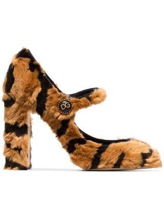 Dolce & Gabbana 100 Faux Fur Mary Jane Pumps - Farfetch