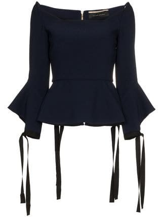 Roland Mouret Holden Tie Cuff Long Sleeve Top - Farfetch