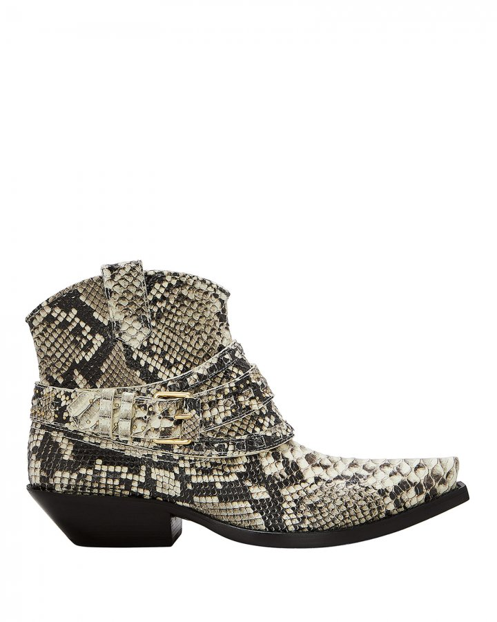 Cowboy Snakeskin-Embossed Booties