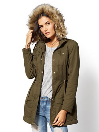 Faux Fur-Trim Sherpa-Lined Cozy Anorak