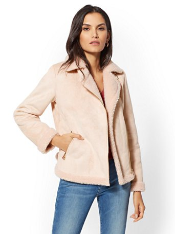 Peach Faux-Shearling Moto Jacket