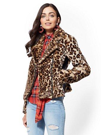 Faux-Fur Leopard-Print Moto Jacket