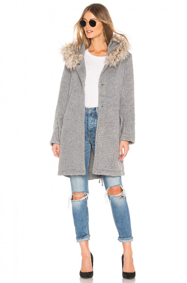 Girls In The Hood Coat With Faux Fur Trim