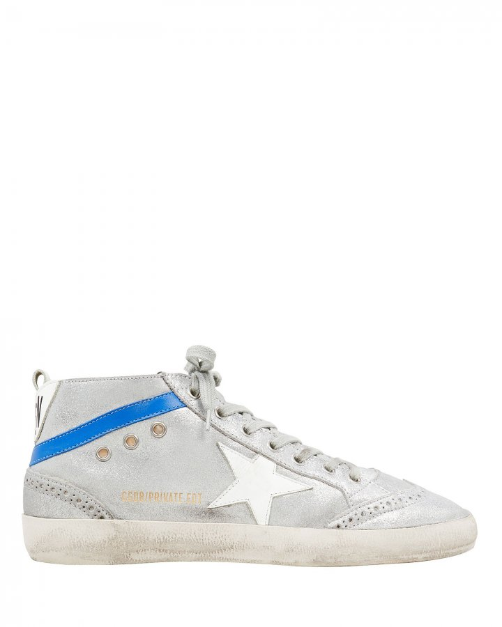 Mid Star Shearling Suede Silver Sneakers