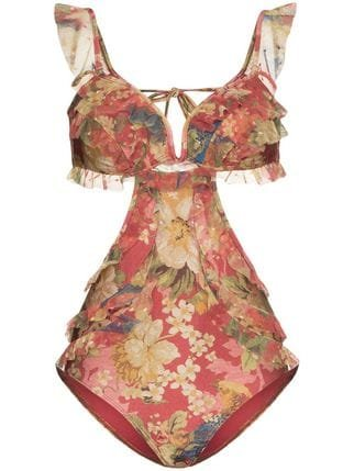 Zimmermann Floral Print One-piece - Farfetch