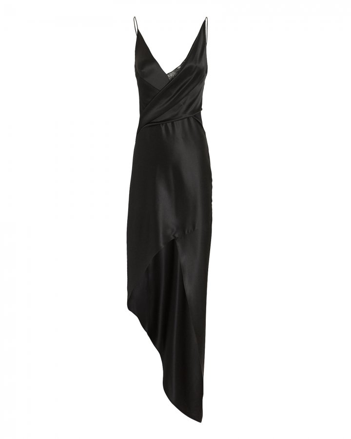 Black Wraparound Midi Dress
