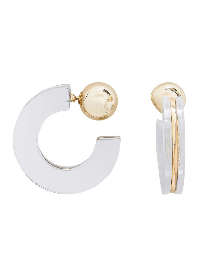 Geometric Mirror Half Hoop Earrings