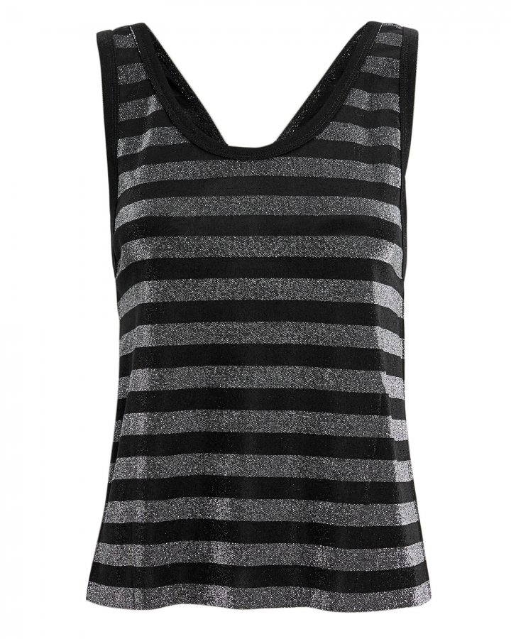 Colton Striped Silver Lurex Tank