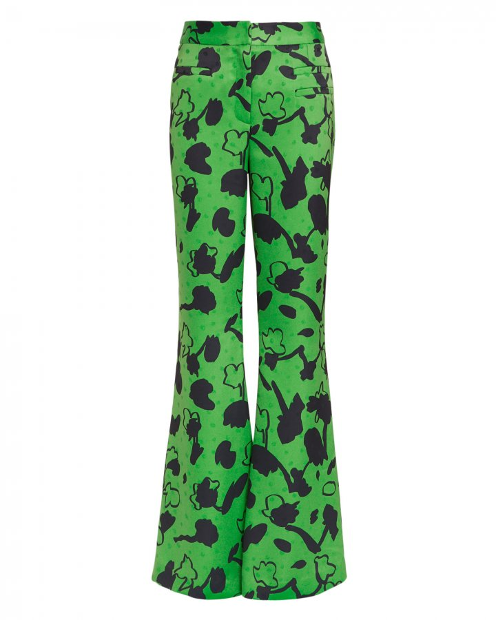 Ashley Floral Print Green Satin Pants