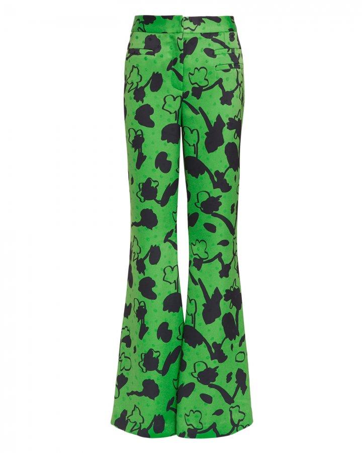 Ashley Floral Print Green Satin Pants