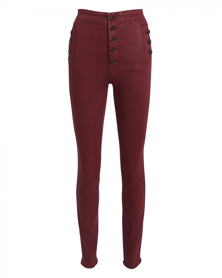 Natasha Dark Red Coated Skinny Jeans
