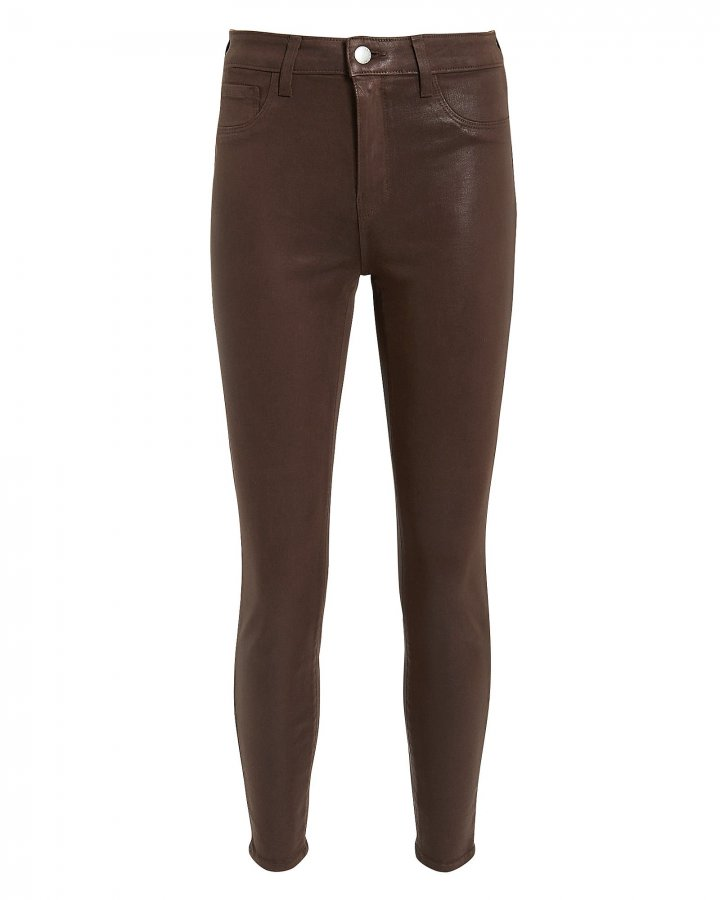 Margot Cocoa Coated High-Rise Ankle Skinny Jeans