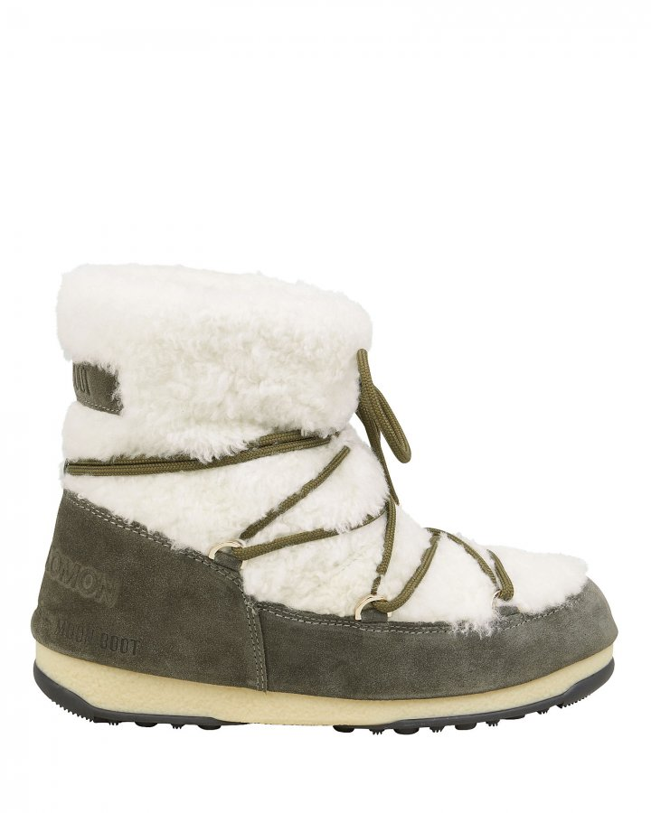 Shearling And Suede Moon Boots