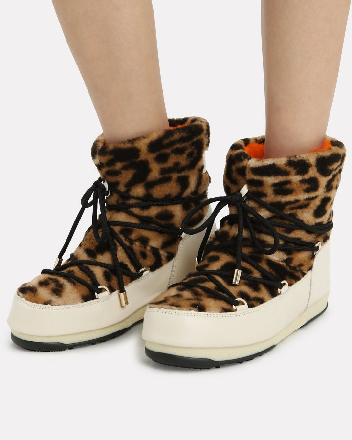 Leopard Shearling Moon Boots