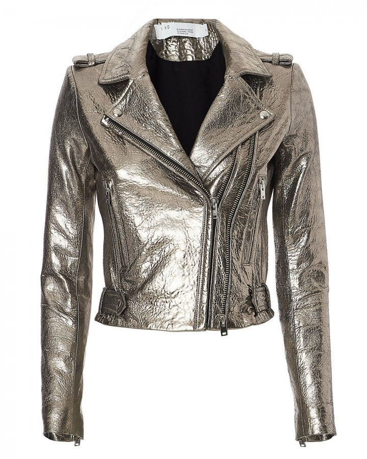 Dylan Metallic Cropped Moto Jacket