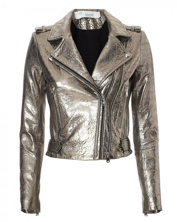 Dylan Metallic Cropped Moto Jacket