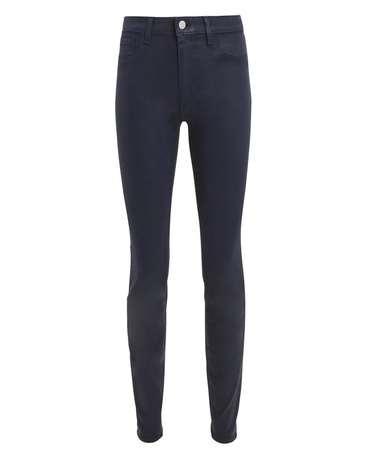 Marguerite Navy Coated High-Rise Skinny Jeans