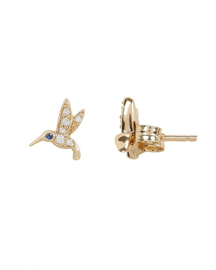 Tiny Hummingbird Diamond Studs